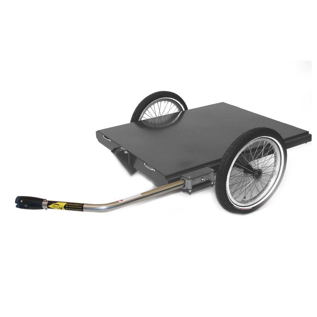 Remorque plateau pour vélo électrique ROLAND Carrie M.e fixation axe de roue arrière