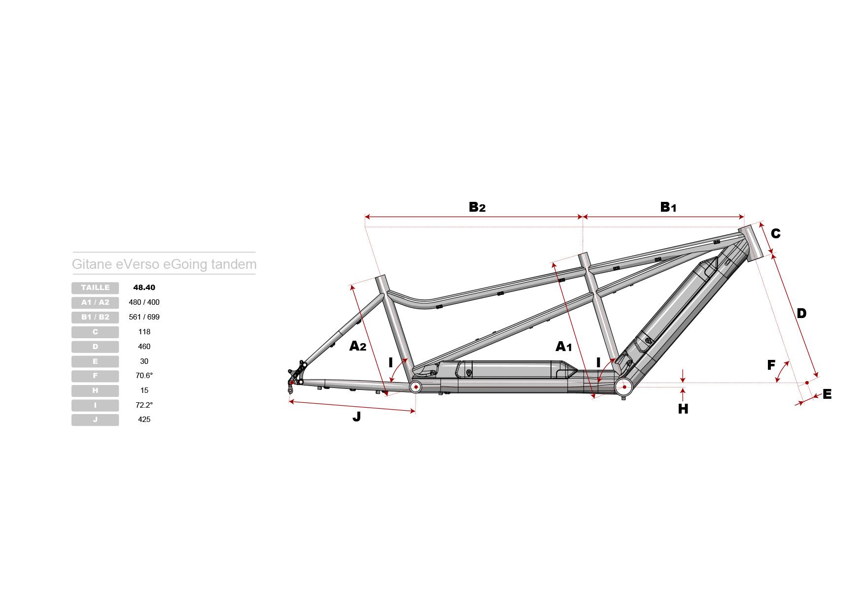 Géométrie cadre vélo électrique tandem Gitane eVerso eGoing 2019
